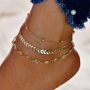 3 INDIVIDUAL OR LAYERED ANKLET/ANKLE BRACELETS